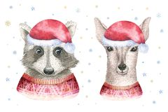 Merry Christmas watercolor card with raccoon and baby deerfloral elements. Happy New Year fawn lettering posters. Winter Royalty Free Stock Photography