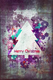 Merry Christmas watercolor card Stock Photo