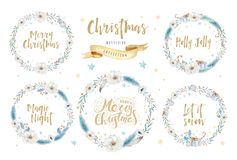 Merry Christmas watercolor cards with floral elements. Happy New Year lettering posters. Winter xmas flower and branch stock illustration