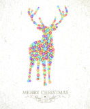 Merry Christmas watercolor deer illustration Royalty Free Stock Image