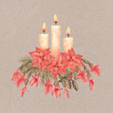 Merry Christmas Watercolor Drawing Stock Image