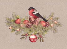 Merry Christmas Watercolor Drawing Stock Photo