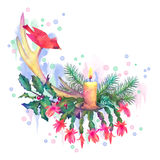 Merry Christmas Watercolor Drawing Royalty Free Stock Photo