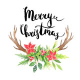 Merry Christmas.Watercolor floral wreath Royalty Free Stock Photo