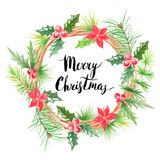 Merry Christmas.Watercolor floral wreath Royalty Free Stock Photos