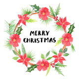 Merry Christmas.Watercolor floral wreath Royalty Free Stock Images