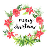 Merry Christmas.Watercolor floral wreath Stock Images