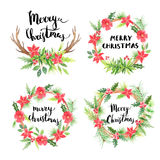 Merry Christmas.Watercolor floral wreathes Stock Photo