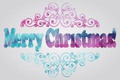 Merry Christmas Watercolor Greetings. Vector Merry Christmas Watercolor Greetings Stock Image
