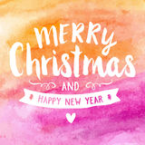 Merry christmas watercolor hand paint greeting card Royalty Free Stock Photos