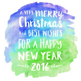 Merry christmas watercolor hand written greeting card Stock Photography