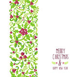 Merry Christmas Watercolor Holly Berry Pattern Stock Images