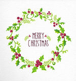 Merry Christmas watercolor holly berry wreath card Stock Image