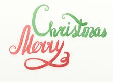 Merry christmas watercolor lettering with the tree and snowman.  Stock Images