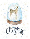 Merry Christmas watercolor lettering with watercolour fun baby. Deer Stock Photos