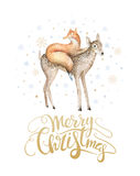 Merry Christmas watercolor lettering with watercolour fun fox a. Nd baby deer Royalty Free Stock Photography