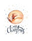 Merry Christmas watercolor lettering with watercolour fun fox. Happy New year card Royalty Free Stock Photos