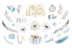 Merry Christmas watercolor set with floral elements. Happy New Year lettering poster collection. Winter flower and Stock Image