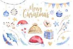 Merry Christmas watercolor set with floral elements. Happy New Year lettering poster collection. Winter flowers, gift. And branch bouquets decoration royalty free illustration