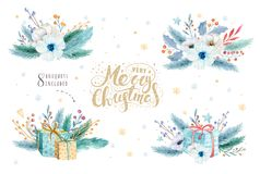 Merry Christmas watercolor set with floral elements. Happy New Year lettering poster collection. Winter flowers, gift Royalty Free Stock Images