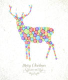 Merry Christmas watercolor spot reindeer card Stock Photo