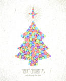 Merry Christmas watercolor tree card background Stock Photography