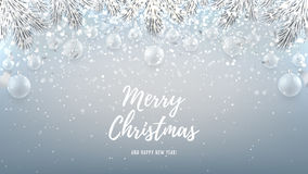 Merry Christmas web banner with glass toys. Beautiful vector illustration with a congratulation. Happy New Year background with silver confetti and shining stock illustration