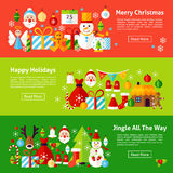 Merry Christmas Web Horizontal Banners. Flat Style Vector Illustration for Website Header. Winter New Year Objects Stock Photography