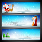 Merry Christmas website header or banner set. Stock Photos