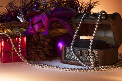 Merry christmas with wedding ring Royalty Free Stock Images