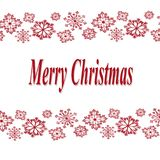 Merry christmas on white background with red snowflakes. Vector vector illustration