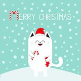 Merry Christmas. White cat holding candy cane, sock. Red Santa Claus hat. Cute funny cartoon character on snowdrift. Flat design. Blue winter background with Stock Photography