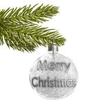 Merry Christmas on a white Christmas ball isolated on white background Royalty Free Stock Photo