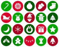 Merry Christmas - White Icons. Vector Easy-To-Use 20 White Merry Christmas Flat Icons In Colorful Circles With Reindeer, Santa Claus , Snowman Involving In stock illustration
