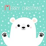 Merry Christmas. White polar bear holding hands paw print. Cute cartoon funny kawaii baby character. Happy New Year. Greeting Card. Flat design. Greeting card stock illustration
