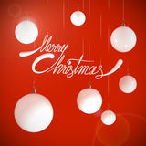 Merry Christmas white quotes and bubbles Royalty Free Stock Image