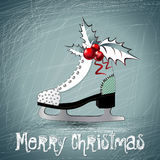 Merry Christmas white skates Stock Photography