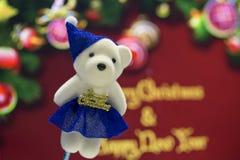 Merry Christmas white teddy bear Royalty Free Stock Photography