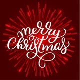 Merry Christmas white text on on red fireworks background. Hand drawn Calligraphy lettering Vector illustration EPS10 Royalty Free Stock Photography