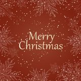 Merry Christmas . White text with snowflakes on red background. Christmas holidays typography. Vector. Illustration stock illustration