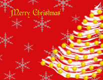 Merry Christmas_White Tree Card Royalty Free Stock Image