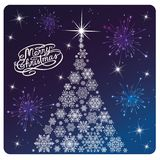 Card Merry Christmas , white tree and fireworks stock illustration