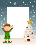 Merry Christmas White Tree - Green Elf Stock Photo