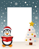Merry Christmas White Tree - Penguin Royalty Free Stock Images