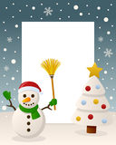 Merry Christmas White Tree - Snowman Stock Images