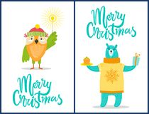 Merry Christmas Wild Animals with Congratulations. Merry Christmas wild animals with congratulation sparklers, presents and sweets dressed in warm clothes owl Royalty Free Stock Photo