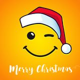 Merry Christmas winking smile and red hat santa greeting card Stock Images