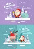 Merry christmas.  winter background Santa comix Stock Image