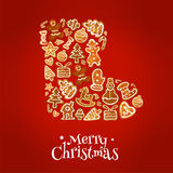Merry Christmas winter boot of gingerbread cookies Stock Photography