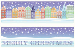 Merry Christmas winter city banner. Vector vector illustration